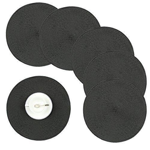 Homcomodar tovagliette lavabili pvc tovagliette da tavola non-scivolare resistenti al calore tovaglietta set da 6(nero)