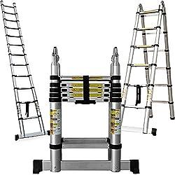 Multifunktionsleiter Teleskopleiter 3,80m - Multifunktionale Leiter mit Sicherheitsarretierung Aluminiumleiter Aluleiter Teleskop 12 Sprossen