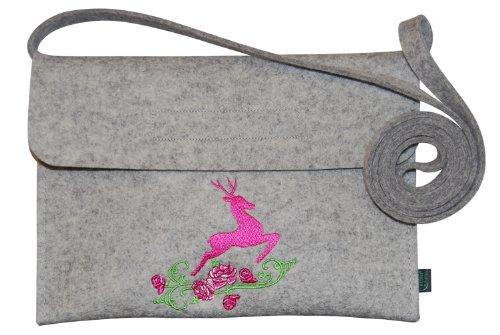 Krings fashion® Filztasche Tracht/Dirndltasche/Trachtentasche, Filzfarbe hellgrau, mit Stickerei Hirsch, Qualität aus Deutschland