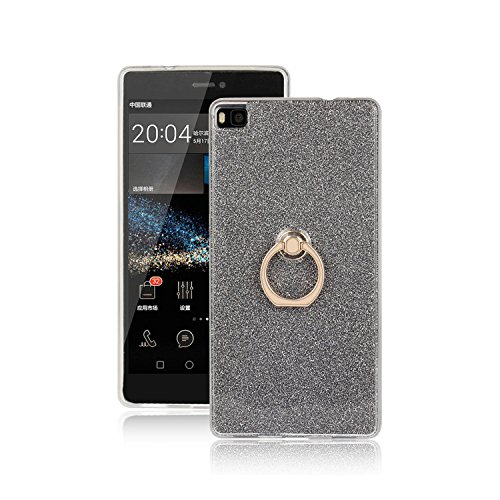 Huawei P8 Hülle, Ranrou TPU Soft Sparkle Powder Back Cover with 360 Degree Rotating Ring Stent for Huawei P8(Black)