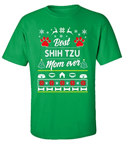 Best Shih Tzu Mom Ever Ugly Christmas Sweater Style Gifts - Adult Shirt -
