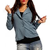 Damen Blazer Baumwolle Vintage Sweatblazer Kurzjacke, Farbe:Jeansblau;Größe:36