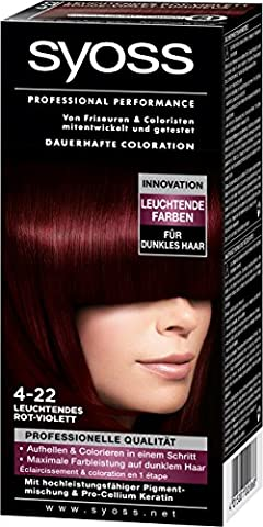 Syoss Professional Performance Coloration, 4-22 Leuchtendes Rot-Violett, 1er Pack (1