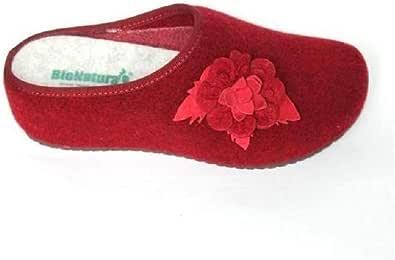 BioNatura Cortina Fiore, Ciabatta in Lana con Zeppa Donna