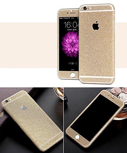 Design Glamoures Sticker für Apple iPhone 5 5S SE 6 6S Skin Glitzerfolie Protector Folie Schutzfolie Hülle Slim Sticker Film in Champagner, Gold, Pink, Grün, Lila (iPhone 5, 5S, SE, Champagner) - 5 Gold Iphone Sticker Skin