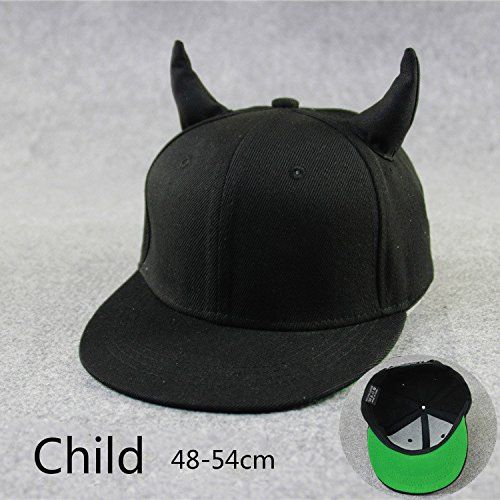 Brolux(TM) 1 PC Horns Cap Men Women Baseball Cap Brim Straight Black Snapback Hat With Ears Kids Girls Boys Female Running Hip Hop Tricycle [Child ]