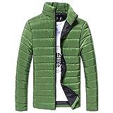 Herbst Winter Herren, DoraMe Männer Baumwolljacke Stehkragen Dicker Mantel Feste Farbe Taschenjacke Lässige Outwear (Grün, XL)