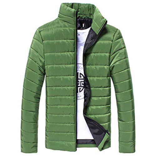 Herbst Winter Herren, DoraMe Männer Baumwolljacke Stehkragen Dicker Mantel Feste Farbe Taschenjacke Lässige Outwear (Grün, L) (Reißverschluss-stehkragen Lässige)