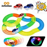 infinitoo 220 Stück Neon Teile Magic Glow Tracks Racer Set, 2 beleuchtete Rennwagen Flexible Autos mit 3 LED-Lichtern, biegbare Magic Glow Tracks im Dunkeln Racetrack für Kinder und Kleinkinder
