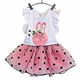 Niña vestido,Sonnena rosa bowknot camiseta verano de conejo impresión volante fruncido manga +...