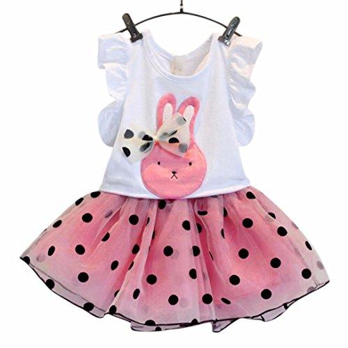 Niña Vestido,Sonnena Rosa Bowknot Camiseta Verano de Conejo Impresión Volante Fruncido Manga + Lindo Tutú Vestido de Punto Estampado de Gasa para Niñita (Camiseta + Falda) (Rosa, 2-3 Años)