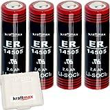 4x Kraftmax LS 14505 - AA / Mignon - Lithium 3,6V Batterie LS14505 / Li-SOCl2 Hochleistungs- Batterien mit extrem hoher Energiedichte - in Batteriebox