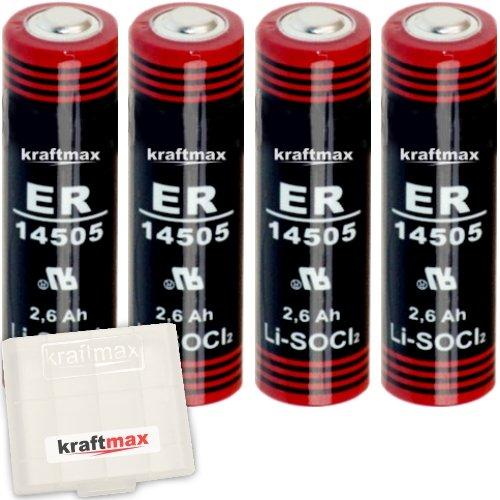 4x Kraftmax LS 14500 - AA / Mignon - Lithium 3,6V Batterie LS14500 / Li-SOCl2 Hochleistungs- Batterien mit extrem hoher Energiedichte - in Batteriebox
