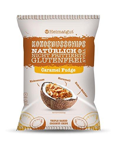Heimatgut Kokosnusschips Caramel Fudge ( 6 x 40g ) 3-fach gebackene Chips aus Kokosnuss. Veganer und glutenfreier Snack mit leckerem Karamell Geschmack.