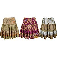Mogul Interior Womens Beach Silk Skirt Flared Recycled Sari Tiered Knee Length Skirts Wholesale Set Of 3
