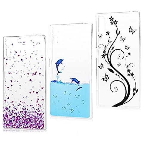 Lanveni (3 Pieces) Sony Xperia XZ Flexible TPU Phone Case ,Scratch Resistant Anti Slip Clear Silicon Cellphone Bodyguard - dolphin + purple little hearts + black