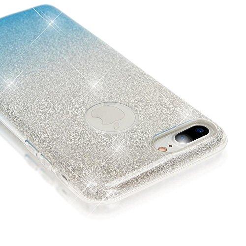 iPhone 8 Plus / 7 Plus Hülle Handyhülle von NICA, Glitzer Ultra-Slim Silikon-Case Back-Cover Schutzhülle, Glitter Sparkle Handytasche, Dünnes Bling Strass Etui für Apple iP-7+ / 8+ - Silber / Lila Silber / Blau