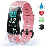 KUNGIX Orologio Fitness Tracker Uomo Donna Smartwatch Android iOS Cardiofrequenzimetro da Polso Fitness Activity Tracker Smart Watch 0,96 Pollice Schermo a Colori Impermeabile IP68 (Rosa)