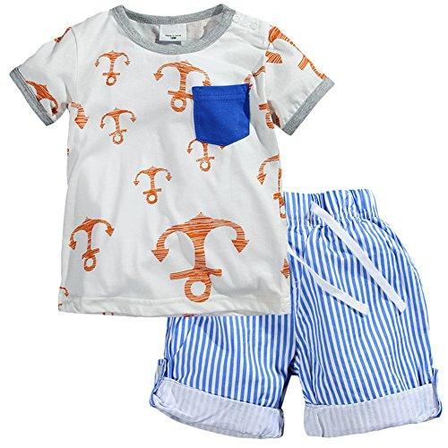 LangÄrmeliges T-shirt Set (Kaily Junge Sommer Baumwolle Kurzarm T-Shirt und Shorts Bekleidung Set(8001TZ,4T))
