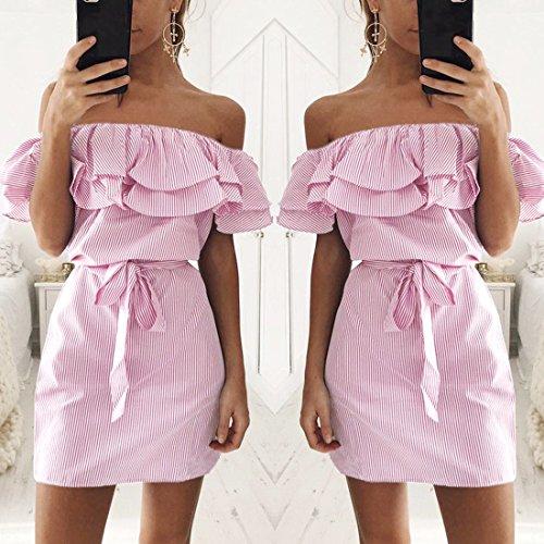 QIYUN.Z Femmes Mode Falbala Slash Cou Épaule Froide Au-Dessus De La Robe De Genou Rayures Rose