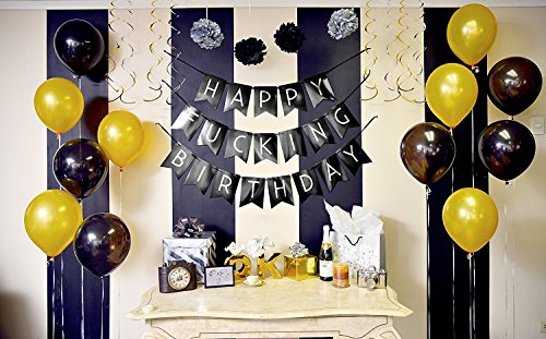Funny Birthday Party Pack Black Silver Happy Bunting Poms And Swirls Decorations