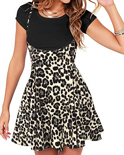 YOINS Falda de Tirantes para Mujer, Informal, básica, de Cintura Alta, Acampanada, sólida, Mini Falda Leopardo-Gris Oscuro. 36
