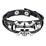 Yovvin One Piece Armband, Retro One Piece Totenkopf Schädel Geflochtene Armbänder Armreif (Style 02)