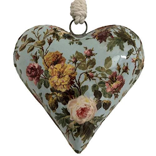 L'ORIGINALE DECO Grand Cœur à Suspendre en Métal Fer Patiné Motif Fleur Bleu Clair 15 cm x 15 cm