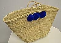 Moroccan dark blue Pom Pom Market Shopping Basket natural rope Handles - W50 D20 H32 - SUMMER OFFER -