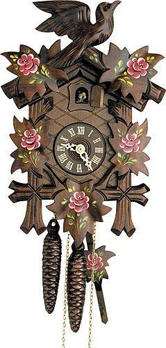 Kuckucksuhr 1-Tag-Uhrwerk geschnitzt 23cm von Hekas - Original aus dem Schwarzwald