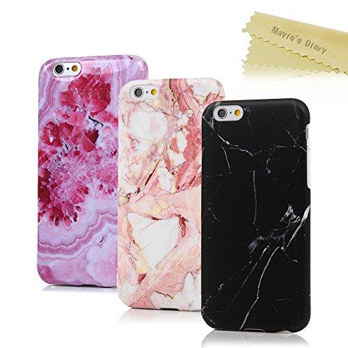 iPhone 6 6s Hülle (4,7 Zoll) Mavis's Diary 3x Case Marmor Muster TPU Softcase Silikon Back Cover Tasche Schutzhülle Anti-Scratch Telefon-Kasten Handyhülle Handycover Bumper Fall Euit