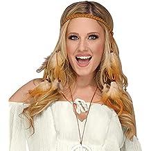 c7d99e0bdcaa65 shoperama Geflochtenes Stirnband mit Federn und Perlen für Indianerin oder  Hippie Kostüm
