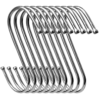 anjias 10 Pcs S Shaped Hooks, Stainless Steel Hanging S Hooks For Bedroom,Bathroon,Kitchen,And Office (Medium)