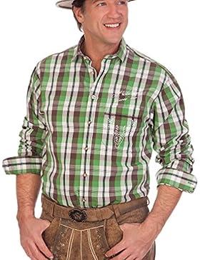 H1529 - Trachtenhemd mit langem Arm - A HOIBE GEHT NO - grün