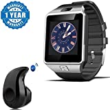 Captcha Silver DZ09 Bluetooth Smart Watch With Camera And Sim Card & Sd Card Slot With Mini S530 Wireless Bluetooth V4.0 In-ear Stereo Earphone Headset Compatible With Xiaomi, Lenovo, Apple, Samsung, Sony, Oppo, Gionee, Vivo Smartphones (One Year Warr