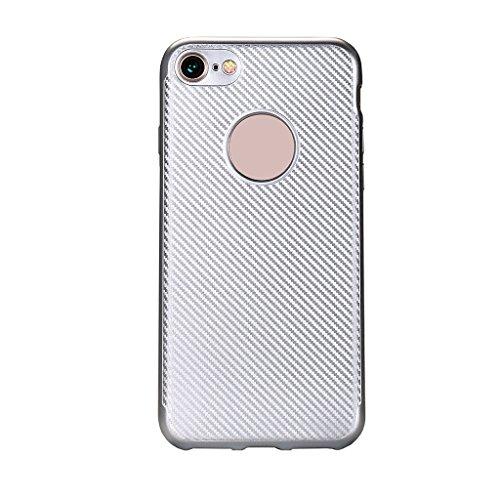 Apple iPhone 6S Hülle - Einfach Mode Handyhülle Ultra Dünn Weich Silikon Stoßfest Drop Resistance Handys Rückseite Schutz Hülle mit Kohlefaser Design Schutzhülle für Apple iPhone 6S Smartphone - Gold Silber