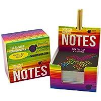 Purple Ladybug Novelty Mini Bloc de Notas Mágico con Hojas de Rascar 150 Cartulinas Negras Rascables para Dibujar con Niños, Manualidades, Escribir Listas | Incluye 2 Lápices | Fondo Arcoiris