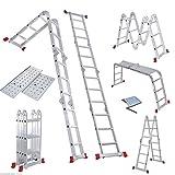 Enyaa Robusta scala pieghevole da 4,7 m, pieghevole multiuso, con cerniere di sicurezza, 2 piattaforme di lavoro e 1 ripiano di sicurezza, 14 in 1 specifiche