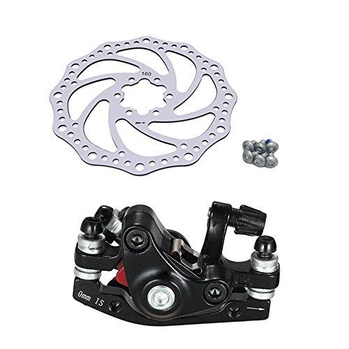 Prom-near Mountain Bike 160mm Rotors Stainless Steel Bike Disc Brake Rotors Bicycle Accessories Faltrad Aluminium Maschine Scheibenbremse Set (Front disc Brake + disc)