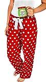 Carolilly Damen Schlafanzughose Polka Dots Pyjamahose Nachtwäsche Baumwolle Hose Lang (S, Rot)