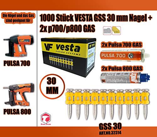1000 x Vesta GSS Nagel + 2 x Pulsa700/ Pulsa800 Gas (Spit Nägel) (C6 30 mm, Pulsa 800)