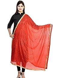 Weavers Villa Women's Embellished Sequin Lace Work Poly Chiffon Dupattas, Stoles