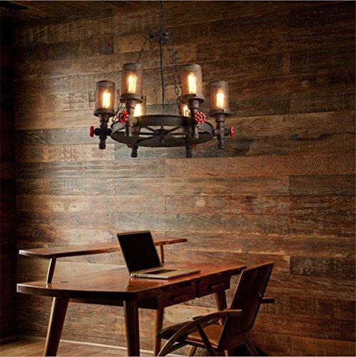 BZJBOY Kronleuchter Vintage Industrial Anhnger Deckenleuchte Steampunk Retro LOFT Creative Metall Wasserpfeife 6 Lichter Wohnzimmer