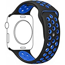 Correa Apple Watch 42mm - LuckWin Pulsera Deportiva Transpirable para Apple Watch Nike+ Series 1 Series 2 Hermes y Edition ( 42 mm M/L Negro/Azul )