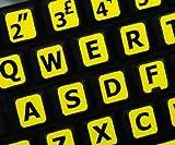 Qwerty Keys Englisch UK Große Beschriftung (Großbuchstaben) Gelb Tastaturaufkleber mit Schwarzen Buchstaben - passend für Jede Tastatur