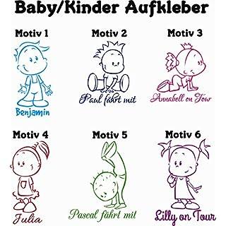 A&D Foliendesign ***Baby - Kinder*** Aufkleber mit ihrem Wunschtext (Motiv, Schrift & Farbwahl)