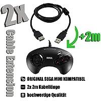 2x Câble d'extension pour mini contrôleur SEGA MEGA DRIVE Cable Extension 2x 2m pour ORIGINAL SEGA MINIVERSION…