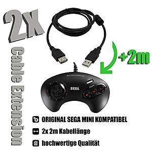 2x Kabel für SEGA MEGA DRIVE Mini Controller Verlängerungskabel Cable Extension 2x 2m für ORIGINAL SEGA MINI OFFIZIELLE VERSION classic black