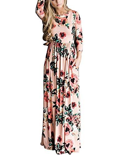 Donna Estate Vestito Lungo Abito Maxi Floreale Stampa manica lunga Rotondo Collo Spiaggia Casual Largo Elegante Sciolto Pink