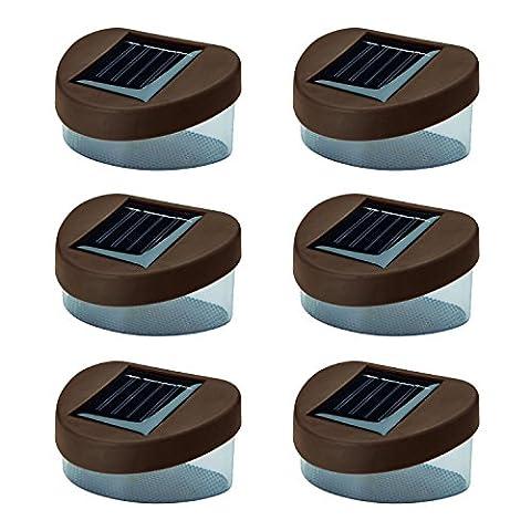 Solalite–6Solar Powered Tür/Zaun/Mauer/Step Lichter LED Outdoor Garten Beleuchtung, braun
